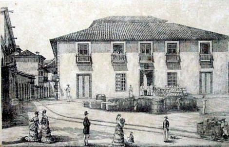 Sede de la Guipuzcoana en Puerto Cabello. Dibujo tomado del Álbum de Caracas y Venezuela
