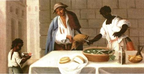 """Anónimo colonial: """"El Zambo o Pardo, de madre negroafricana (""""angola"""") y ´padre español omestizo, Museo de Las Américas, Madrid, España"""